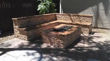 brick firepit and stone patio in denver colorado by brick repair denver