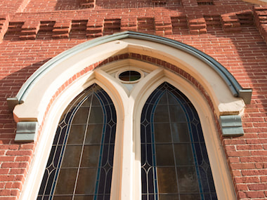 old brick church building repair and brick restoration on exterior in denver